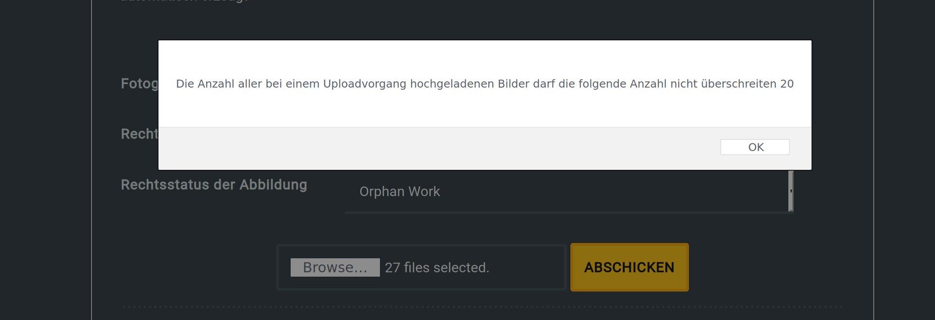 Eine Warnung stoppt den Versuch, zu viele Dateien gleichzeitig hochzuladen