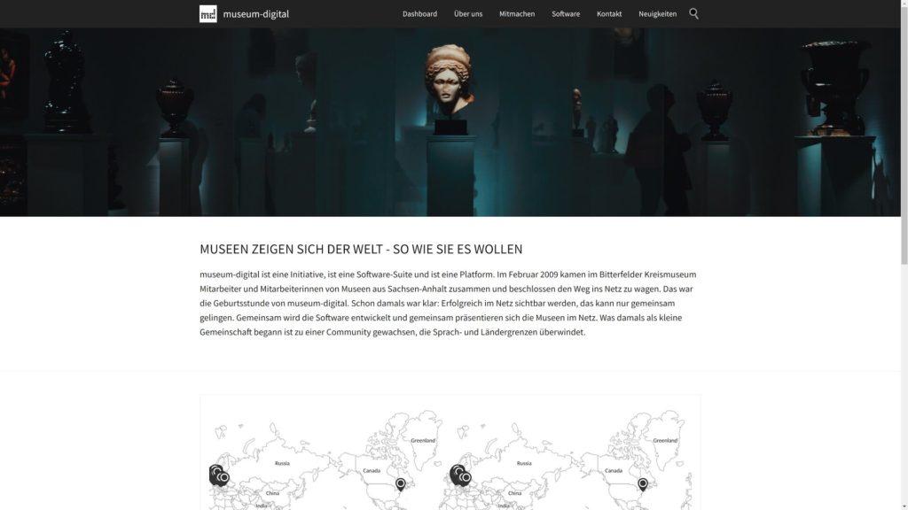Startseite von museum-digital.org mit Karte aller teilnehmenden Museen.